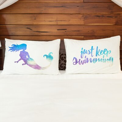 2 Piece Just Keep Swimming Mermaid Pillow Case Set