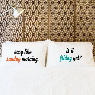 2 Piece Sunday & Friday Pillow Case Set