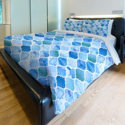 Ocean Moroccan Fleece Duvet Cover Size: King