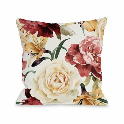A Floral Afternoon Throw Pillow Size: 16 H x 16 W x 3 D, Color: Peach