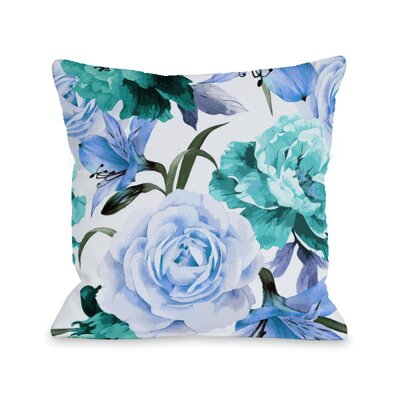 A Floral Afternoon Throw Pillow Size: 18 H x 18 W x 3 D, Color: Periwinkle
