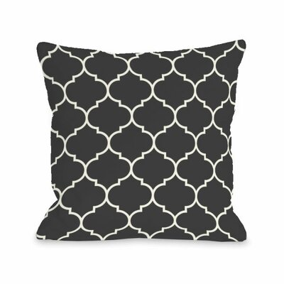 Repeating Moroccan Throw Pillow Size: 18 H x 18 W x 3 D, Color: Charcoal