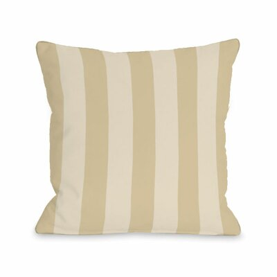 Stripey Throw Pillow Size: 18 H x 18 W x 3 D, Color: Sand