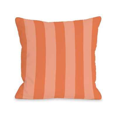 Stripey Throw Pillow Size: 18 H x 18 W x 3 D, Color: Tangerine