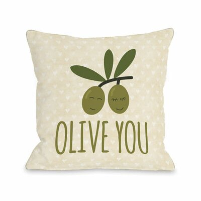 Olive You Hearts Throw Pillow Size: 16 H x 16 W x 3 D