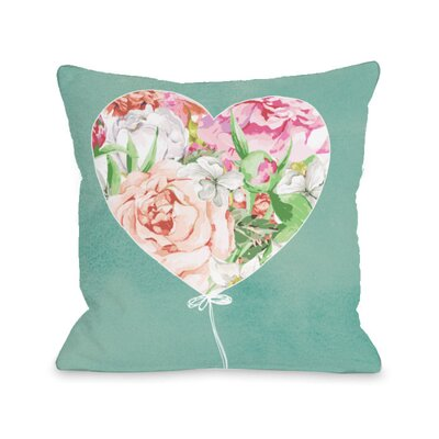 Floral Balloon Heart Throw Pillow Size: 18 H x 18 W x 3 D