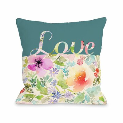 Floral Love Script Throw Pillow Size: 18 H x 18 W x 3 D