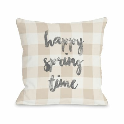Happy Spring Time Plaid Throw Pillow Size: 16 H x 16 W x 3 D