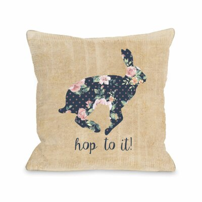 Hop to it Bunny Throw Pillow Size: 16 H x 16 W x 3 D