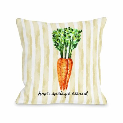 Hope Springs Eternal Carrot Stripe Throw Pillow Size: 18 H x 18 W x 3 D