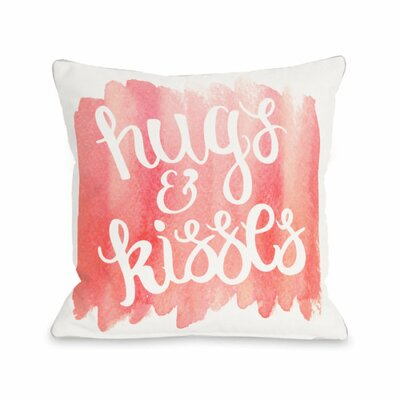 Hugs and Kisses Script Water Throw Pillow Size: 18 H x 18 W x 3 D