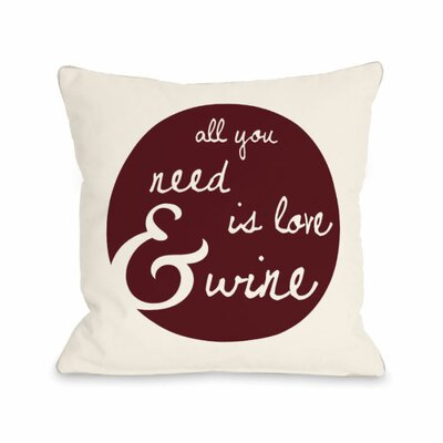 Love and Wine Floral Throw Pillow Size: 18