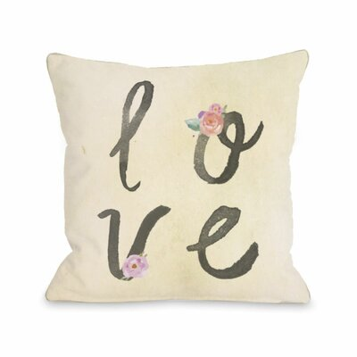 Love Flowers Water Stacked Throw Pillow Size: 16 H x 16 W x 3 D