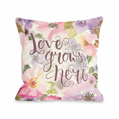 Love Grows Here Lavender Throw Pillow Size: 16