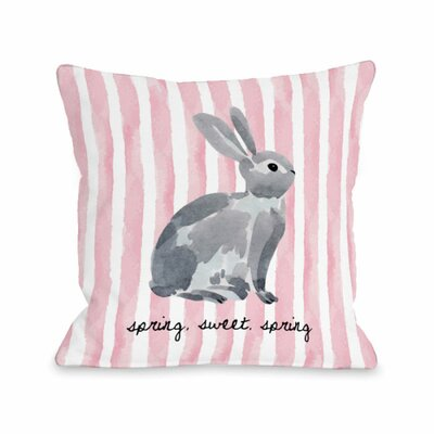Spring Sweet Spring Bunny Stripe Throw Pillow Size: 18 H x 18 W x 3 D