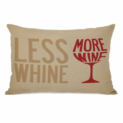 Less Whine More Wine Lumbar Pillow