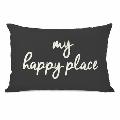Degeorge My Happy Place Lumbar Pillow Color: Charcoal