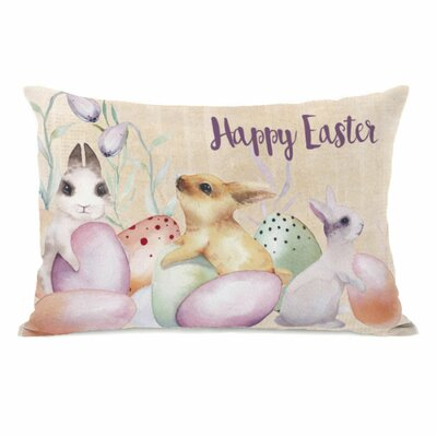 Happy Easter Bunnies and Eggs Throw Pillow