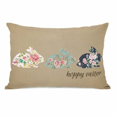 Hoppy Easter Floral Bunnies Lumbar Pillow