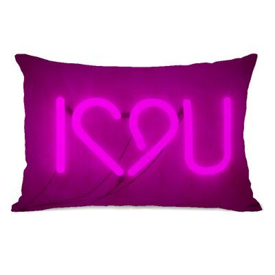 I Heart You Neon Sign Throw Pillow