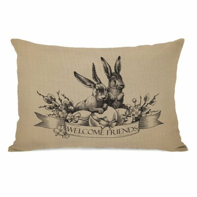 Welcome Friends Vintage Bunnies Throw Pillow