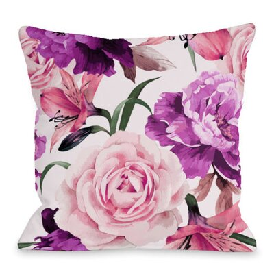 A Floral Afternoon Throw Pillow Size: 18 H x 18 W x 3 D, Color: Peach