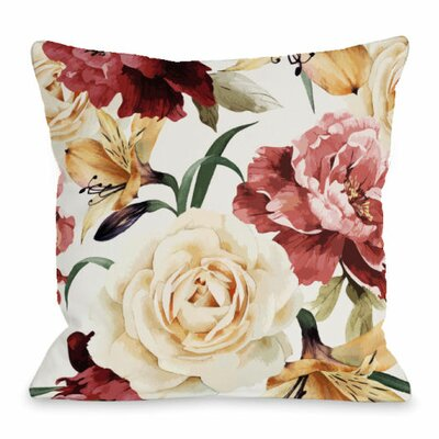 A Floral Afternoon Throw Pillow Size: 18 H x 18 W x 3 D, Color: Magenta
