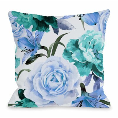 A Floral Afternoon Throw Pillow Size: 16 H x 16 W x 3 D, Color: Periwinkle