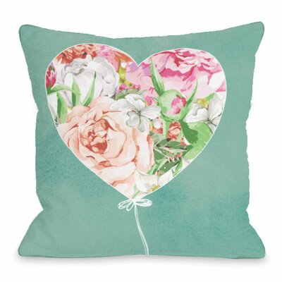 Floral Balloon Heart Throw Pillow Size: 16