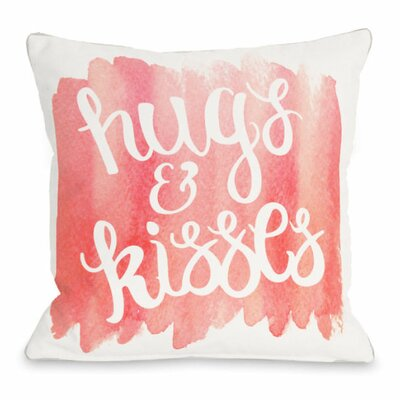Hugs and Kisses Script Watercolor Throw Pillow Size: 16 H x 16 W x 3 D