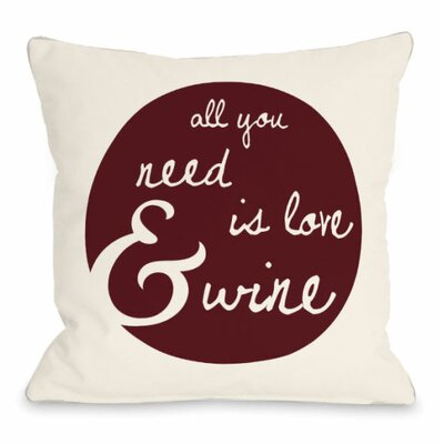 Love and Wine Floral Throw Pillow Size: 18 H x 18 W x 3 D