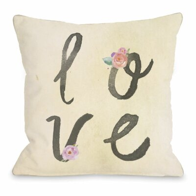 Love Flowers Watercolor Stacked Throw Pillow Size: 16 H x 16 W x 3 D