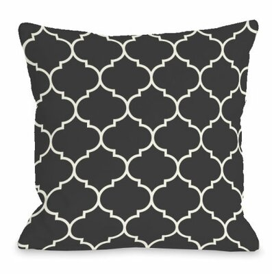 Repeating Moroccan Throw Pillow Size: 16 H x 16 W x 3 D, Color: Charcoal