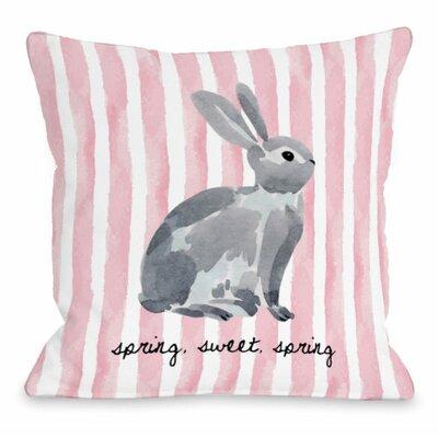 Spring Sweet Spring Bunny Stripe Throw Pillow Size: 16 H x 16 W x 3 D