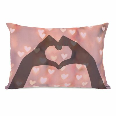 Heart Hands Bokeh Lumbar Pillow
