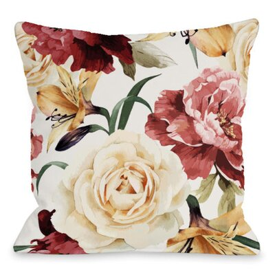 A Floral Afternoon Outdoor Throw Pillow Color: Peach