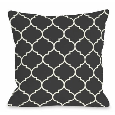 Repeating Moroccan Outdoor Throw Pillow Color: Charcoal