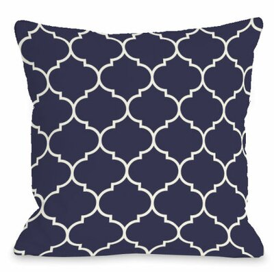 Repeating Moroccan Outdoor Throw Pillow Color: Midnight