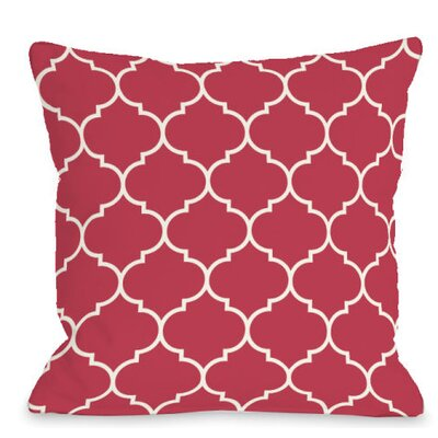 Repeating Moroccan Outdoor Throw Pillow Color: Rose