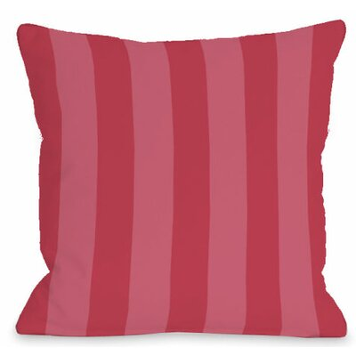 Stripey Outdoor Throw Pillow Color: Rose