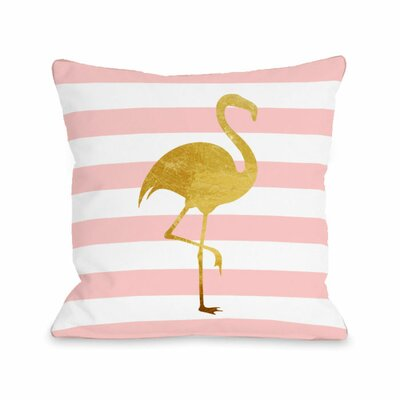 Tropical Stripes Flamingo Throw Pillow Size: 18 H x 18 W