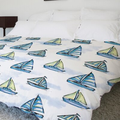 Boats Main Lightweight Duvet Cover Size: Full Queen