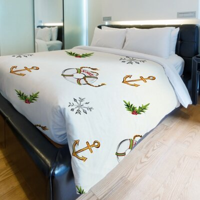 Nautical Xmas Duvet Cover Size: King