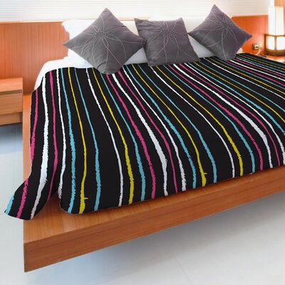 Stripe Fleece Duvet Cover Size: Full / Queen