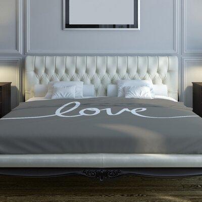 Love Gray Fleece Duvet Cover Size: Full / Queen