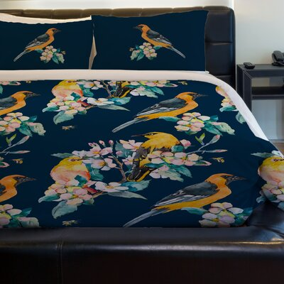 Yellow Bird Fleece Duvet Cover Size: Twin