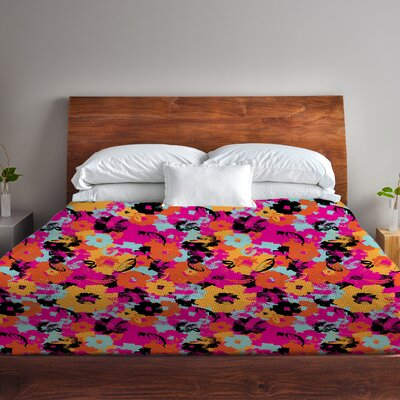 Summers Day Floral Fleece Duvet Cover Size: King