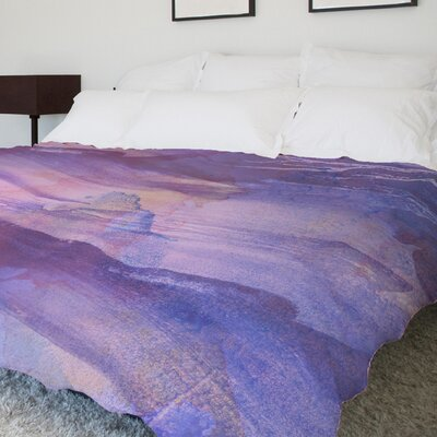 Slowly Drifting Fleece Duvet Cover Size: King, Color: Purple