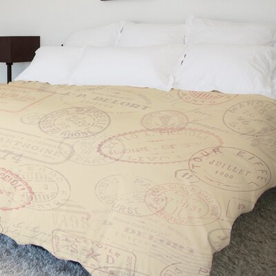 Traveling Stamps Fleece Duvet Cover Size: Full / Queen