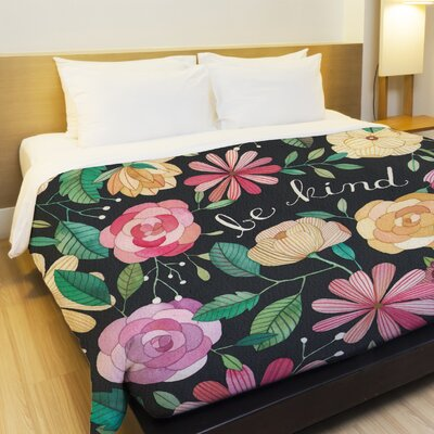 Be Kind Florals Fleece Duvet Cover Size: Full / Queen